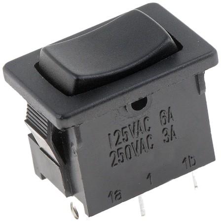 On-Off-On Mini Non-Glow Black Rectangular Style - 10 Amp Switch - Dorman# 85969