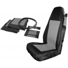 Front Seat Cover Set (Black/Gray) w/ Belt Pads & Wheel Cover - Crown# SC10021