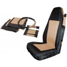 Front Seat Cover Set (Black/Tan) w/ Belt Pads & Wheel Cover - Crown# SC10024
