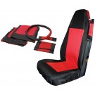 Front Seat Cover Set (Black/Red) w/ Belt Pads & Wheel Cover - Crown# SC10030
