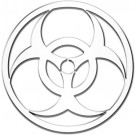 "One ""3D-Cals"" Chrome 'Biohazard' Decal - Cruiser# 83203"